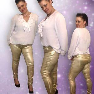 Bebe Gold metallic skinny jeans size 30